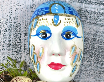Madame Bluebell...  ceramic hand painted face...   home decor...  p3-2  L