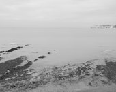 Black and White Seascape - 12x8 - Compton Bay, Isle of Wight - seaside, coast, seashore, bathroom decor, photograph, rocks
