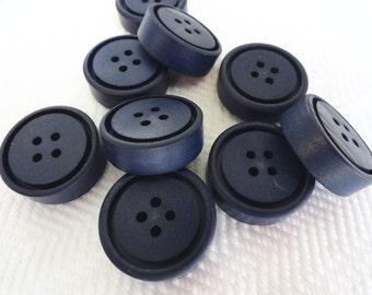 Navy Vintage Coat Buttons - 6 Mid Century Plastic Sew Through