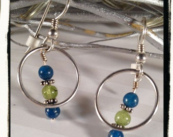 Blue Green Hoop Dreams---Apatite, Peridot and Sterling Silver Earrings