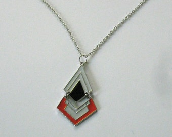 Orange Chevron Necklace