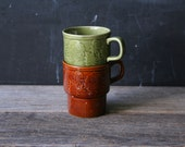 Vintage Japan Made Stacking Mugs Coffee Cups Rust and Green From Nowvintage on Etsy