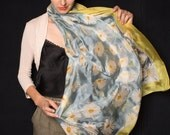 Moonflowers Silk Scarf. Hand painted scarf, Yellow grey scarf, Long silk shawl Luxurious Silk Scarf Shawl, Spring Wedding, Bridal accessory