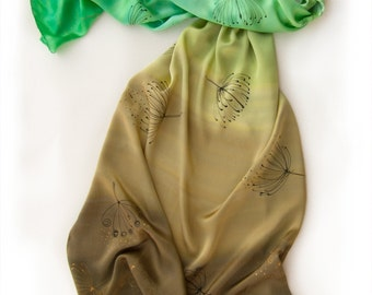 Silk Satin Scarf- Spring dandelions. Hand painted Silk shawl. Apple green, brown shawl. Ombre satin shawl Luxury evening scarf Shawl  wrap