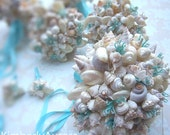 Beach Wedding Bridal Bouquet and Bridesmaid Bouquets  (Hinewai Detailed Cultivated Style). Made to Order Custom Details