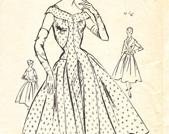 Norman Hartnell vintage 50s dress and jacket sewing pattern - Bestway D.2971 - bust 36