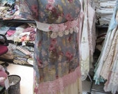 VINTAGE kitty.. flapper... 1920's.. antique cabbage roses.. guipure lace, pearls.. sheer long dress.. ooak.. shabby chic..MED/LARGE