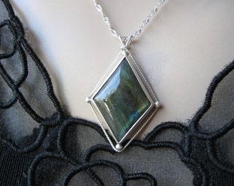 Silver Labradorite Necklace- Metal Work
