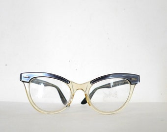 Vintage 50s 60s Cat Eye Glasses/ Grey Pearl /  Women's Eyewear / Sunglasses with WInged Browline Effect over Translucent on sale