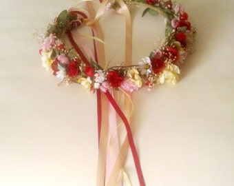Festive Renaissance colors flower crown Red headpiece dried flower pink yellow champagne music festivals wedding accessories made to order