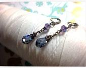 HALF PRICE Titanic Crystals - purple swarovski earrings / indigo earrings / crystal drop earring / purple earrings / blue dangle earrings