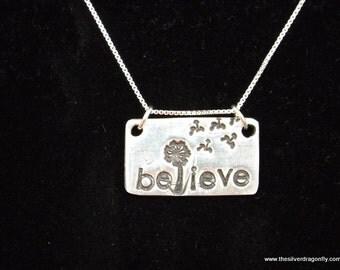 Dandelion necklace, Believe Necklace, dandelion charm, Dandelion wishes necklace, Wish necklace, Graduation gift