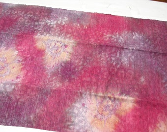 Hand Painted Raw Silk Fabric Remnant Red Fuschia Mauve