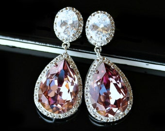Swarovski Antique Pink Teardrop Crystals Surrounded with Pave CZs on Silver Cubic Zirconia Post Earrings