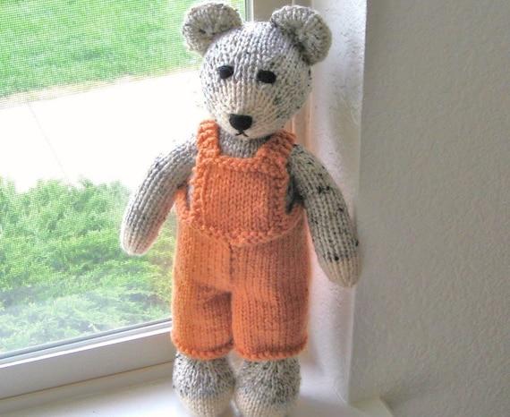 hand knit teddy bear in orange overalls childrens plush. Black Bedroom Furniture Sets. Home Design Ideas