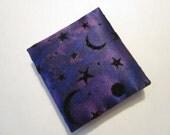 Deep Dark Purple with Black Moons and Stars Mini Magic Wallet