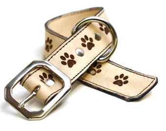 Custom Leather Dog Collar - Laser Engraved Dog Collar Paw Prints Etched Thick Pet Accessories