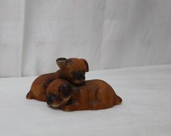Vintage Porcelain Boxer Puppies Figurine UCGC