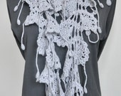 ZIGZAG - GREY - Crochet Cashmer and Wool Blend Yarn Long  Lace Scarf