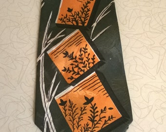 Vintage 1950's Green Necktie, Wide and Pointy Mens Tie, Duck Hunting