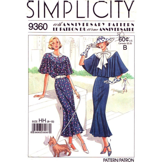 1920s Dress & Capelet Reproduction Pattern Simplicity 9360  Size 6 8 10 12 Vintage Sewing Pattern UNCUT