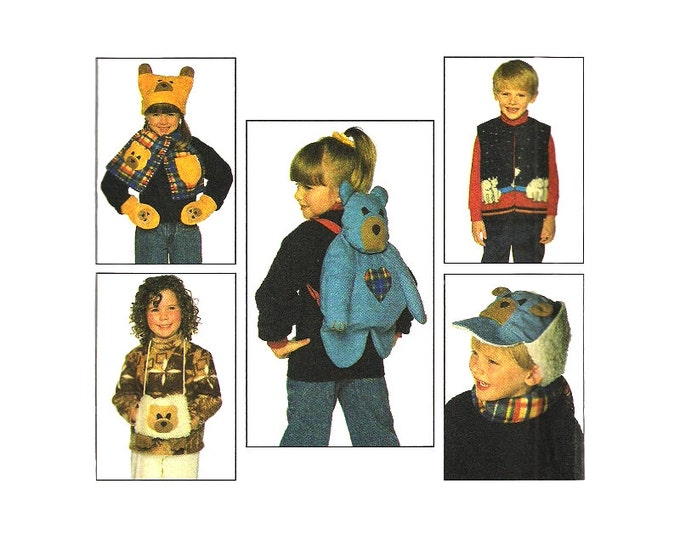 Kids Backpack & Accessories Pattern Simplicity 7855 Vest Hats Mittens Muff Size S M L