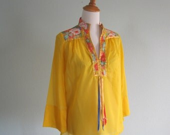 CLEARANCE Vintage 1970s Blouse - Sheer Sunny Yellow Boho Blouse with Ribbon Trim - 70s Yellow Top S M