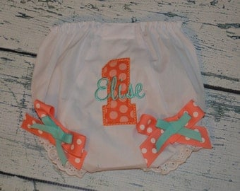 Personalized Birthday Bloomers Monogram Diaper Cover First Birthday, Coral and Aqua