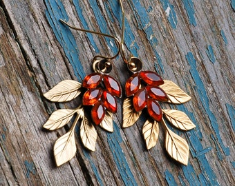Leaf EARRINGS Topaz Gold Autumn Forest Earrings Rustic Woodland Wedding Romantic