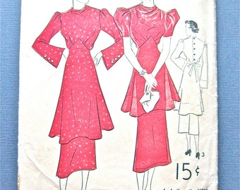 1930s Vintage Sewing Peplum Dress Pattern by Advance 1604  Bust 36