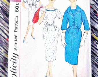 1950s Vintage Simplicity 3308 OnePiece Sewing Dress Pattern    Bust  33 Inches