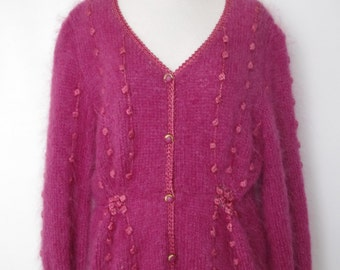 French vintage 1980s fuchsia pink fluffy cardigan - medium large M L