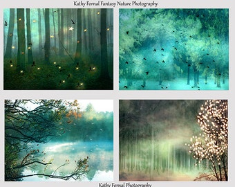 Nature Photography, Fantasy Aqua Teal Green Nature Trees, Dreamy Sparkling Fairy Lights Trees, Fantasy Fairytale Nature Prints, Nature Decor