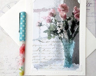 Spring Floral Note Cards, Roses Tulips Notecard, Dreamy Pink Aqua Flowers Note Card, Pink Teal Garden Roses Notecard, French Floral Notecard