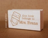 Personalized Name Kawaii Pencil Rubber Stamp (Wood Engraved or Self Inked) - Make Your Own Text - 0059