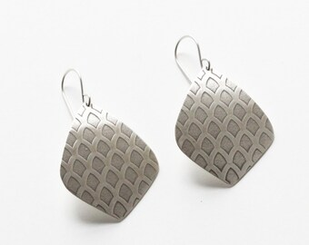 "Moroccan earrings with old world pattern embossed on geometric shapes cut out of recycled sterling silver sheet - ""Arches Earrings"""
