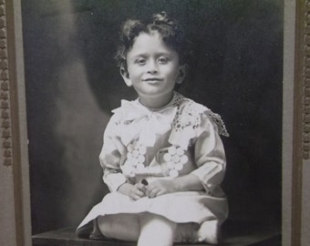 Curly Haired Girl in Lacy Dress-Bows-Boots-Antique Cabinet Photo-Milwaukee,WI