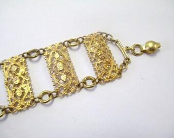 Vintage 60's Antique Style Gold-Tone Bracelet DEADSTOCK