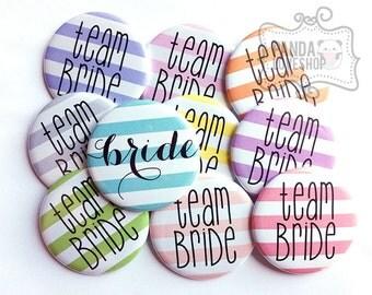 Bachelorette Party Buttons, Team Bride Buttons Pastel Rainbow Stripes (Set of 10) 1.5 inch Pinback Buttons
