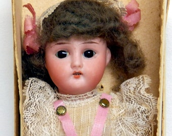 "German Bisque Doll  8"" Antique  All Original Still in Box"