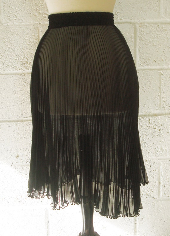 vintage black chiffon pleated flared skirt by