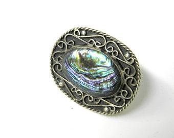 Vintage pin, sterling brooch,silver filigree ,paua shell, singed Guad Mexico,Southwestern, ethnic tribal, spanish, Guadolupai,natural shell