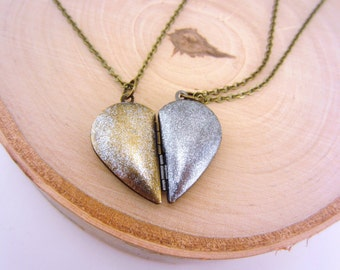 Best friend necklaces. Heart locket necklace. Heart necklace. Gift for her. Set of 2. Charm necklace. Bff necklace. Silver and gold.