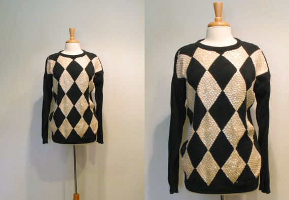 SALE Vintage Black & Ivory Sequin Harlequin Slouchy Sweater