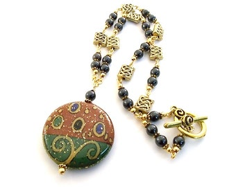 Red Green and Gold  Necklace Porcelain Antique Gold Black