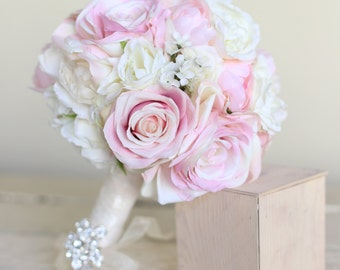 Silk Bridal Bouquet Peonies and Roses Garden Rustic Chic Wedding NEW 2014 Design by Morgann Hill Designs