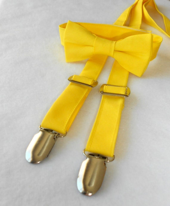 Bright Yellow Bowtie and Suspender Set - Infant, Toddler, Boy