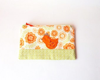 Zipper Pouch, Pencil Case, or Cosmetic Bag - Medallion Bloom in peach, orange, green and cream with Handmade Felt Chicken Embellishment