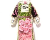 SALE Textile Art Doll Fabric Collage Queen Doll Cloth Art Doll Ornament Embellished Doll