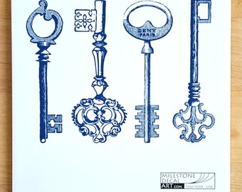 Skeleton Key Decals for Ceramic, Glass and Enamel
